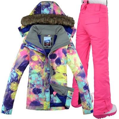 GSOU neige marque femmes veste de Ski pantalon Snowboard costume coupe-vent imperméable thermique sports de plein air porter des vêtements de Ski Snowboard - 3