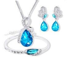 Новинка,, ювелирные наборы с австрийскими кристаллами, подвеска в виде капли воды, ожерелье, серьги, браслет, посеребренные ювелирные изделия для женщин
