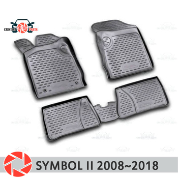 Tappetini per Renault Symbol 2008 ~ 2018 tappeti antiscivolo poliuretano sporco di protezione interni car styling accessori