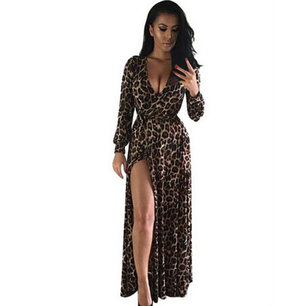 Europe Summer Style New Fashion Women Dress V Neck Long Dress Sexy Nightclub Split Leopard Print