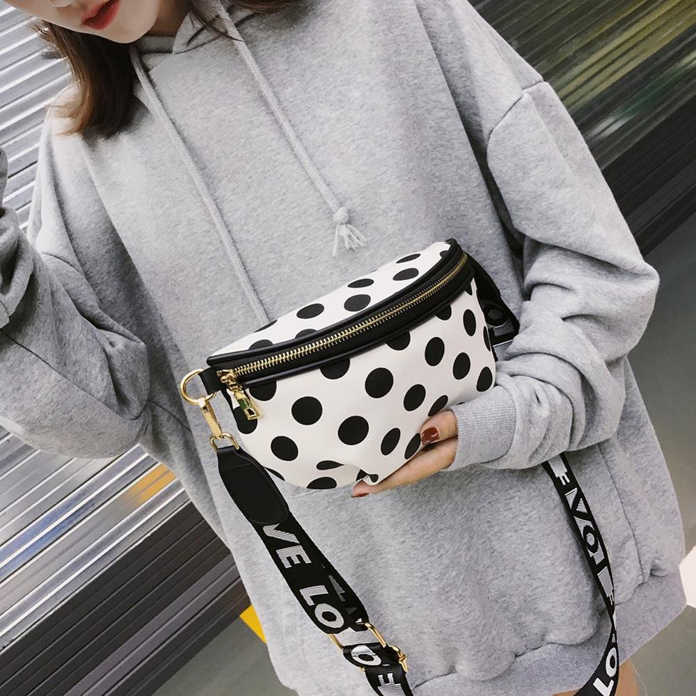 Women Casual Nylon Shoulder Waist Bags Female Stylish Dots Crossbody Belt Simple Mini Zipper Waist Packs
