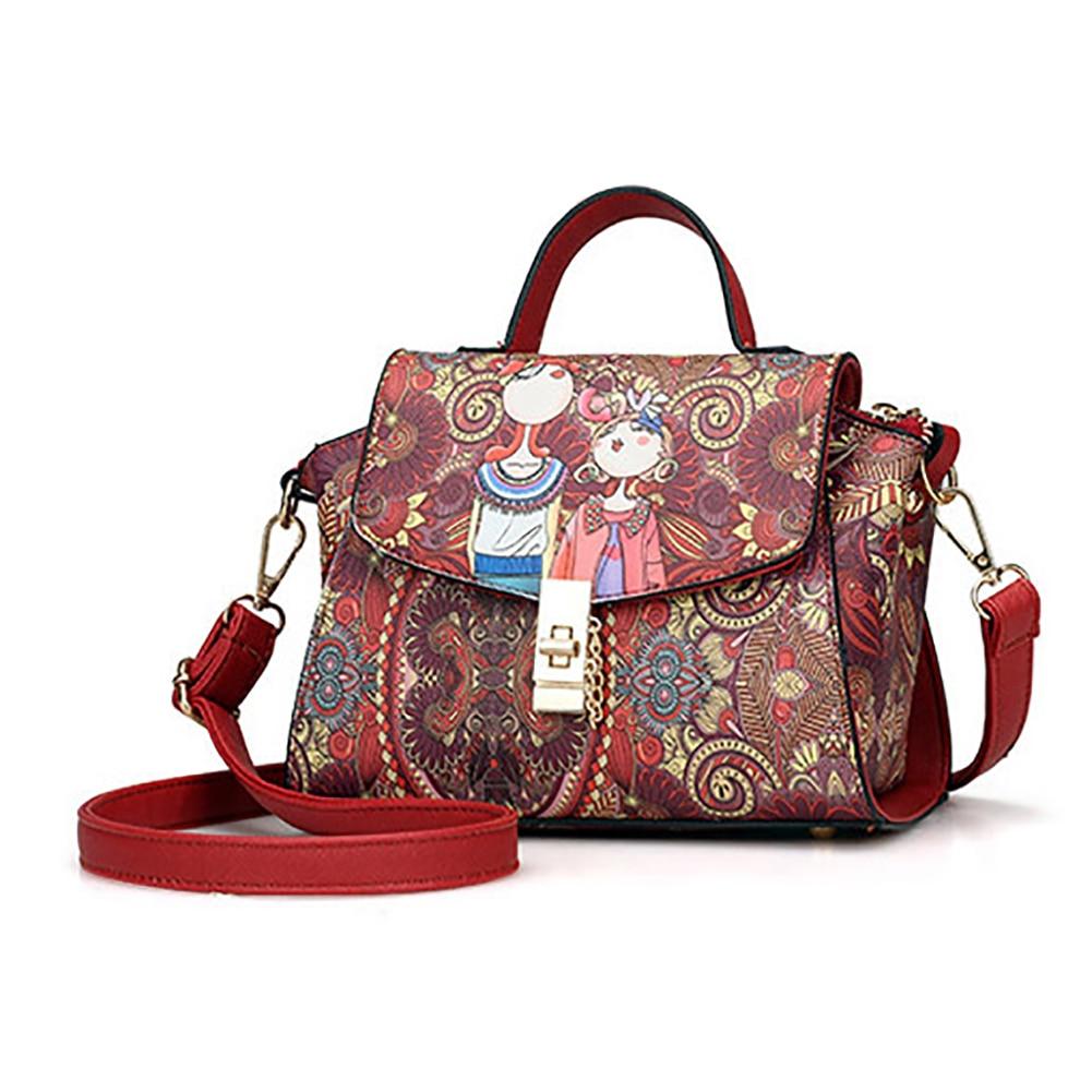 Women's Vintage Cartoon Print Faux Leather Shoulder Messenger Bag Mini Handbag cartoon print drop shoulder sweater