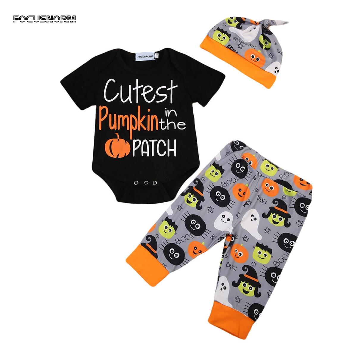 3PCS Set Newborn Baby Boy Girl Halloween Custest Pumpkin Short Sleeve Clothes Black Romper Cartoon Pattern Pants Hat Outfits