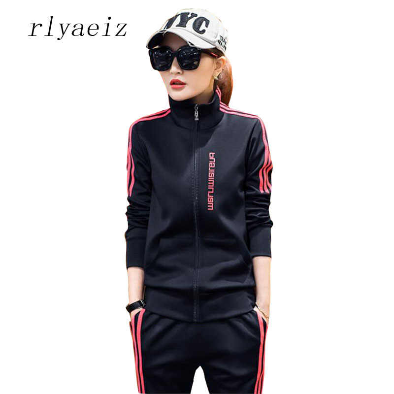 RLYAEIZ Trainingspak Nieuwe 2 stuk Set 2017 Mode Lente Herfst Lange Mouw Truien + Broek Sets Dames Casual Slim Sporting suits