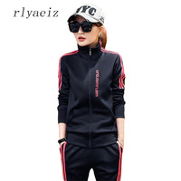 RLYAEIZ Tracksuit New 2 Piece Set 2017 Fashion Spring Autumn Long Sleeve Hoodies Pants Sets Ladies