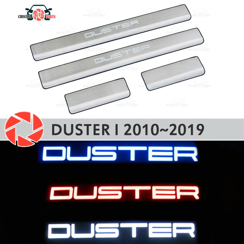 LED ประตู sills สำหรับ Renault Duster 2010 ~ 2019 ขั้นตอนแผ่นด้านใน trim อุปกรณ์เสริม scuff รถตกแต่ง led light