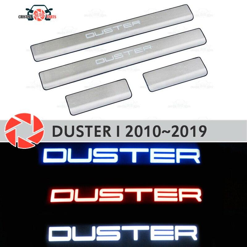 LED drzwi parapety dla Renault Duster 2010 ~ 2019 krok płyta wewnętrzna akcesoria wykończenia ochrona scuff dekoracja samochodu światła led