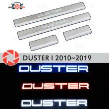 Светодиодный пороги двери для Renault Duster 2010 ~ 2019 шаг пластины внутренняя отделка Аксессуары защита потертости автомобиля Стайлинг декоративные светодиодные лампочки
