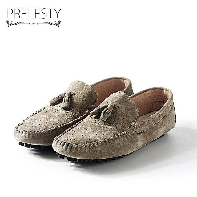 2636df51766b Prelesty Printemps Automne Classique Mens Mocassins Hommes Occasionnels En  Cuir Suédé Chaussures de Conduite Confortable Mocassins