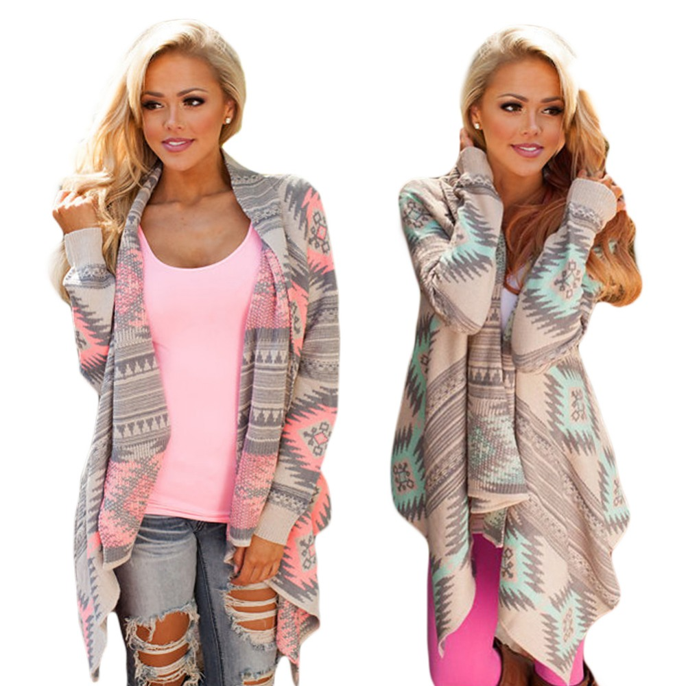 Women Cardigan Pink Long Cardigans Poncho Collarless Long Sleeve Asymmetrical Irregular Printed Casual Shrug Coats Jacket como vestir con sueter mujer