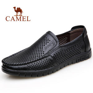 CAMEL Summer Breathable Men's Sandals Leather Loafers Non-slip Casual Men's Shoes Wear-resistant Soft Business Shoes 38-45