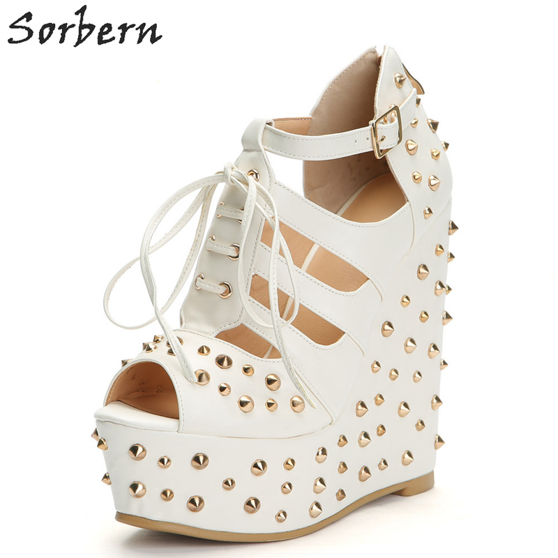 Sorbern Fashion Women Wedges Pumps Shoes White Party Pumps With Rivets Luxury Shoes Women Designers Wedges Shoes For WomenSorbern Fashion Women Wedges Pumps Shoes White Party Pumps With Rivets Luxury Shoes Women Designers Wedges Shoes For Women