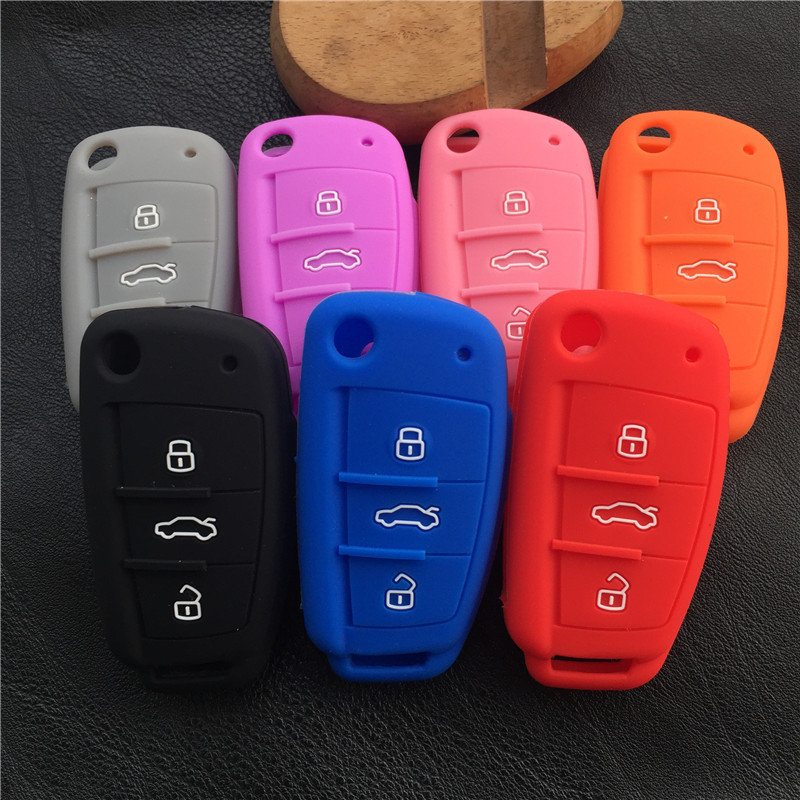 Silicone Car Key Cover Case For Audi Sline A3 A5 Q3 Q5 A6 C5 C6 A4 B6 B7 B8 TT 80 S6 Auto Key Cover Holder Protector Accessories