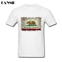 Custom Designed California Republic Distressed Flag Hip Hop T Shirt Men White Short Sleeve Tshirts Big