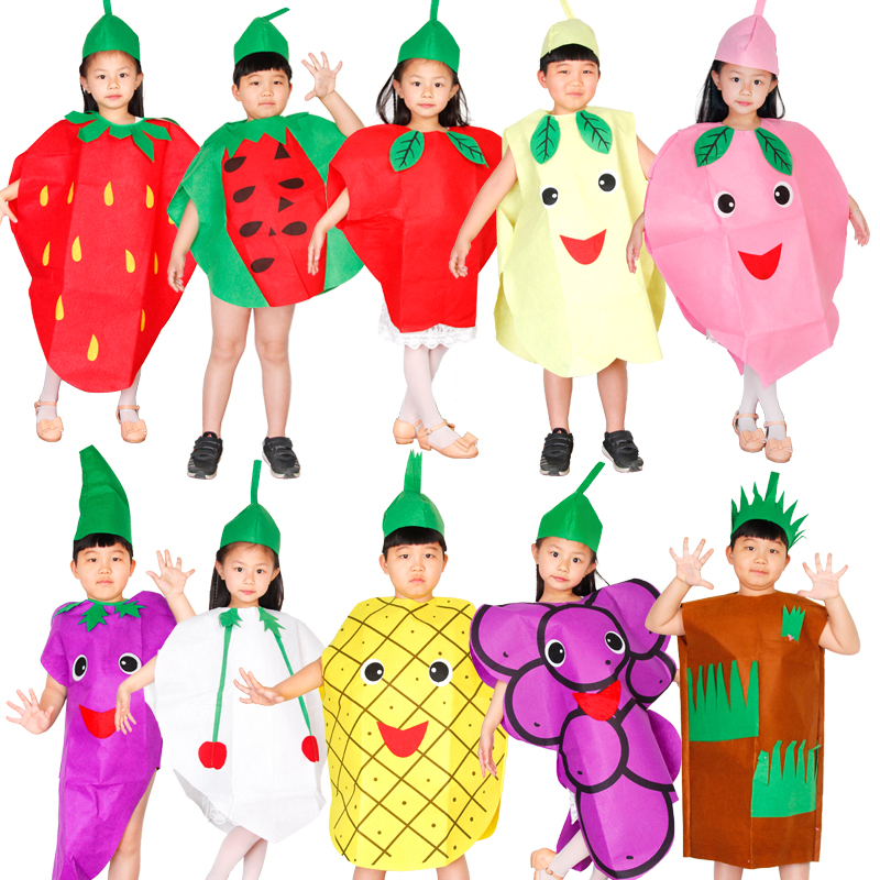 Fruits and vegetables children clothes cosplay masquerade performances costumes performing props party activities Free shipping