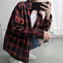 92ce4c96 Mens Clothing Spring Oversized Long Sleeve Shirt Men Women Casual Plaid  Flannel Burr Shirts Harajuku Male Strip Shirts