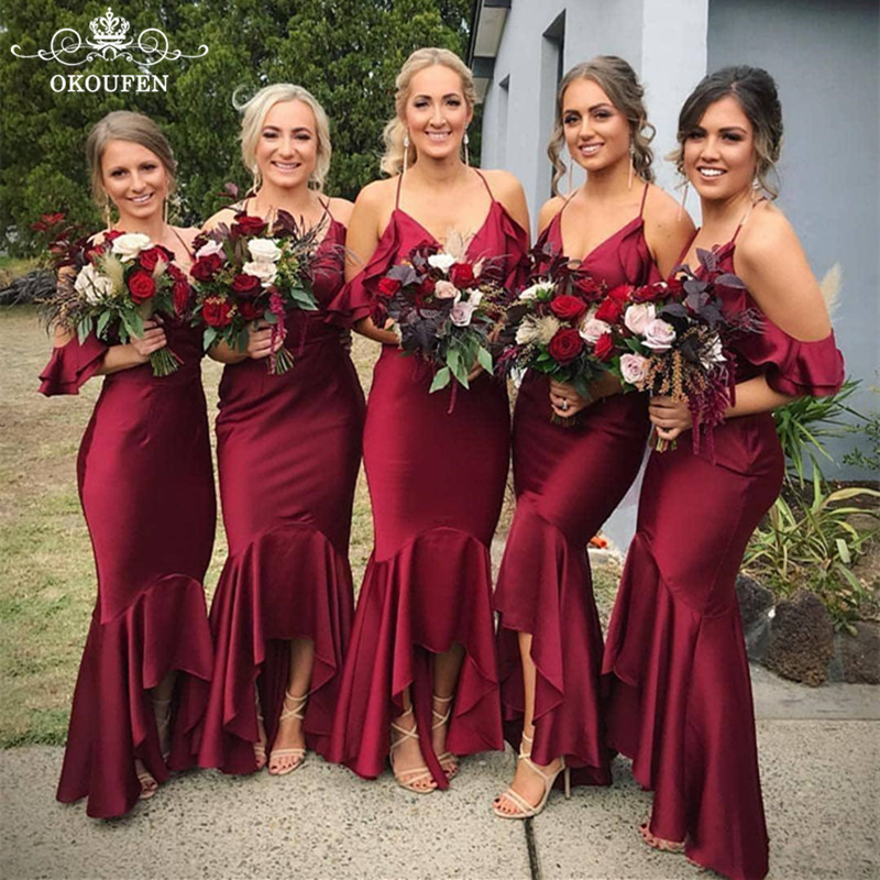 Burgundy Stretchy Satin   Bridesmaid     Dresses   Sexy Off Shoulder Spaghetti Strap 2018 Little High Low Long Party   Dress   Gown