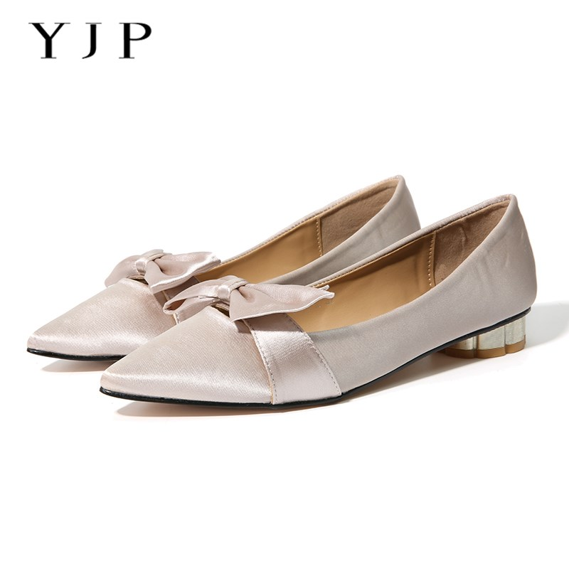 цены YJP Women Flats, Black/Peachy Beige/Army Green Bowknot Satin Flat Shoes, Elegant Ladies Butterfly-knot Pointed Toe Slip On Shoes
