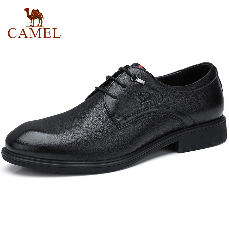 CAMEL Men's Dress Shoes Genuine   Leather   Men Shoes Business Office Glossy Soft Non-slip Lightweight Rubber Sole Shoes Men