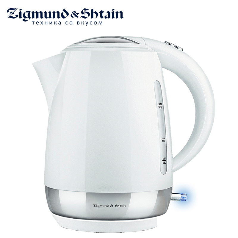 Zigmund & Shtain KE-317 PSW Electric Kettle 2200W 1.7L Two-sided water level scale Removable filter Cover opening button new ionized water purifier with outer filter