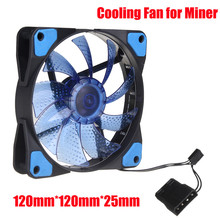 LED Light CPU Cooling Fan 4 PIN PC Computer Cooler Case Graphics Card GPU High Air Flow Cooling Fans For Miner Mining Rig Case