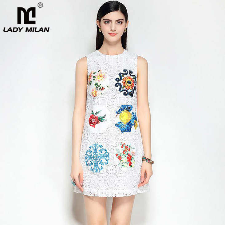 Lady Milan 2018 Womens O Neck Sleeveless Embroidery Lace Fashion Designer Casual Summer Dresses
