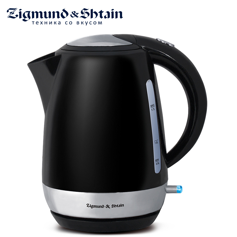 Zigmund & Shtain KE-317PSB Electric Kettle 2200W 1.7L Two-sided water level scale Removable filter Cover opening button