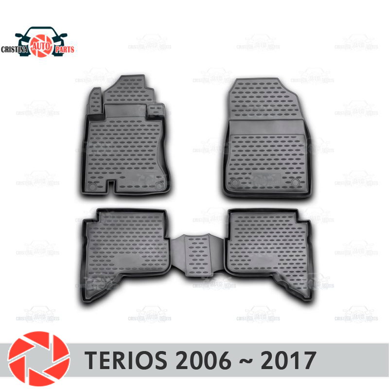 Floor mats for Daihatsu Terios 2006~2017 rugs non slip polyurethane dirt protection interior car styling accessories new ac compressor 88310b1070 88320 97401 88310 b1070 88320 b1020 for toyota passo daihatsu terios boon sirion