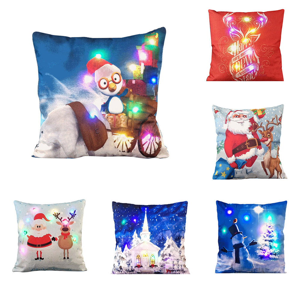 Cushion Cover For Christmas Home Decoration 2017 Multicolor LED Light Sofa Throw Pillow Ca