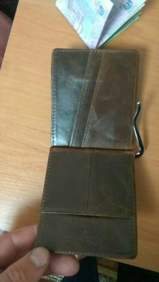Male Genuine Leather Design Fashion Slim Wallet Front Pocket Money Clip Mini Purse For Men 1098 photo review