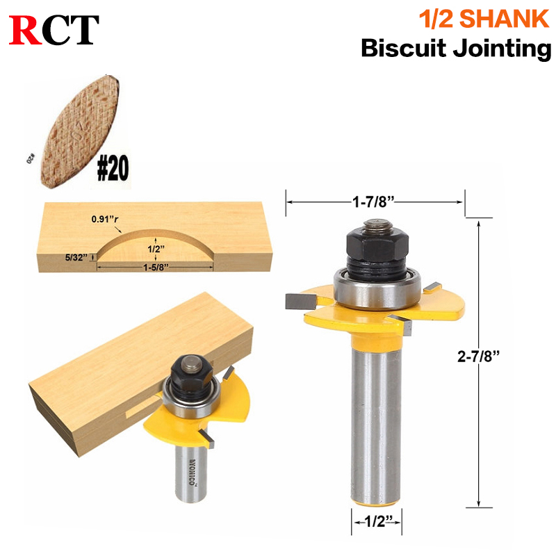 1 pc 1/2 Shank Biscuit #20 Slotting 5/32x1/2 Joint Assembly Router Bit Wood Cutting Tool woodworking router bits- 1 2 5 8 round nose bit for wood slotting milling cutters woodworking router bits