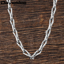Davieslee Thin Stick Link Mens Womens Necklace Chain Fashion Jewelry Stainless Steel Silver Tone 2.5mm DKN503(China)