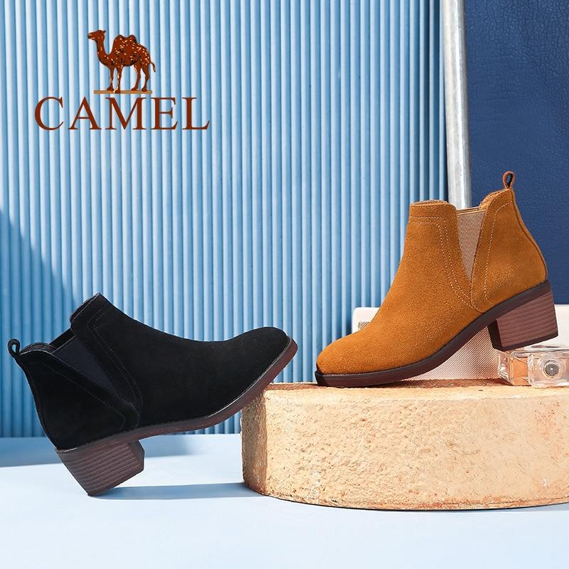 Para Británicos Ocio Las Mujeres Black Zapatos Moda Botas Tobillo Tacón De creamel Camello Gamuza Mujer Plataforma Los Invierno Retro nRwqFYaZ