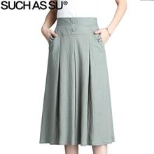 New 2018 Women Black Red Blue Green Brown Button High Waist Pleated Skirt Spring Summer Elastic Female Mid Long