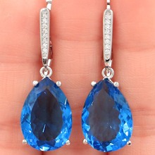 SheCrown 18x13mm Drop Shape London Blue Topaz White CZ Gift For Girls Silver Earrings 35x13mm