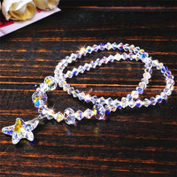 SWANJEWELRY High Quality 2 Stand Multilayer White Starfish Glass Crystal Bracelets Crystal Charm Bracelets Statement Jewelry