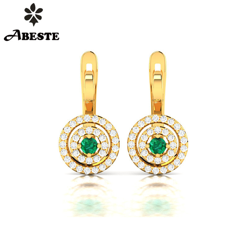 ANI 18K Yellow/White/Rose Gold (AU750) Women Diopside Drop Earrings 2 Halo Natural Diamond Earrings Engagement Dangle brinco yoursfs dangle earrings with long chain austria crystal jewelry gift 18k rose gold plated