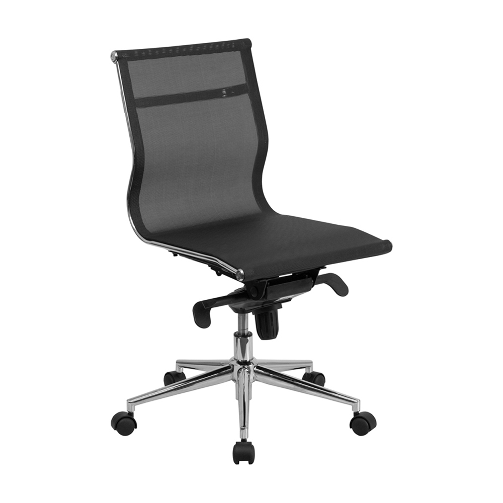Flash Furniture Mid-Back Armless Black Mesh Executive Swivel Office Chair with Synchro-Tilt Mechanism [863-BT-2768M-NA-GG]