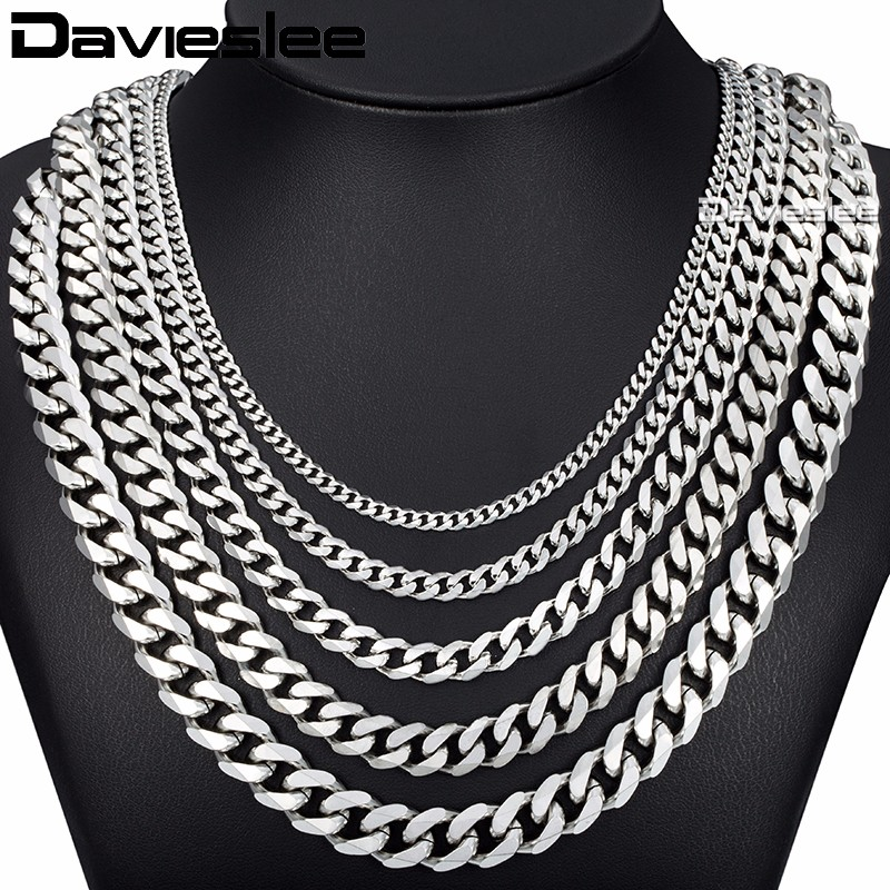 Curb Cuban Mens Necklace Chain Silver Gold Black Stainless Steel Necklaces for Men Davieslee Fashion Jewelry 3/5/7/9/11mm DKNM07(China)