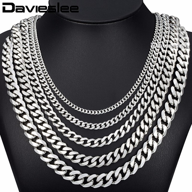 Curb Cuban Mens Necklace Chain Silver Gold Black Stainless Steel Necklaces for M