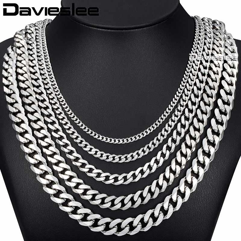 Curb Cuban Mens Necklace Chain Silver Gold Black Stainless Steel Necklaces for Men Davieslee Fashion Jewelry 3/5/7/9/11mm DKNM07
