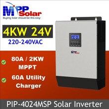 (Msp) 24v 5kva 4000w mppt inversor solar + mppt carregador solar 80a + 60a carregador de bateria paralela capaz