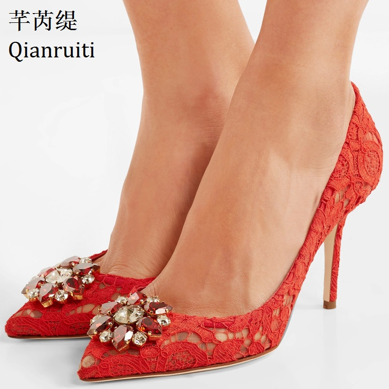 Qianruiti Hot Sale Red Lace Embroidery Women High Heels Shoes Bling Crystal Women Party Shoes Pointed Toe Slip-On Women PumpsQianruiti Hot Sale Red Lace Embroidery Women High Heels Shoes Bling Crystal Women Party Shoes Pointed Toe Slip-On Women Pumps