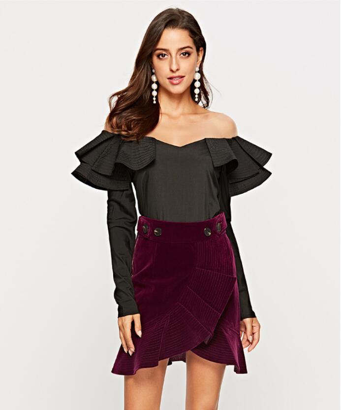 Spécial Top Col Street Chemises 2018 New 006 Noir blanc Ruches Mode Sexy De Lady Skew Summer Femmes Sp Nouveau Slim Parti Design Wear Blouses x0wwfHnpqC