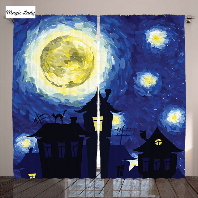 Gordijnen Print Woonkamer Blauwe Slaapkamer Van Gogh Schilderij ...