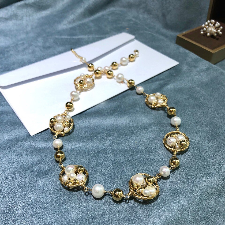 ANI 14K Roll Gold Handmade Women Torques Natural Freshwater White Pearl Gold Necklace fine Engagement Jewelry Fashion Design in Necklaces from Jewelry Accessories