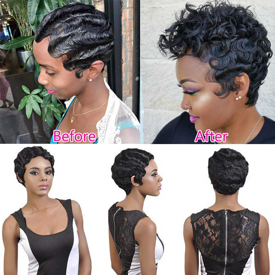 Short Pink Curly Synthetic Wig For Black Women Finger Wave Wig Heat Resistant Brown Blonde African American Pixie Cut Mommy Wig
