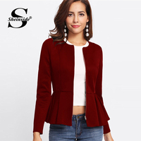 d4b5ab0f16de3c Sheinside Zip Up Box Pleated Peplum Autumn Jacket Women Ruffle Bolero  Workwear 2018 Clothes Slim Outerwear