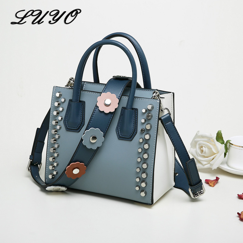Women Bags Leather Luxury Designer Handbags High Quality Shoulder Crossbody Hand Bag For Girl Tote Rivet Michael Embroidery europe famous designer rivet embroidery messenger bag high quality mini crossbody bags for women luxury shoulder bag sac femme