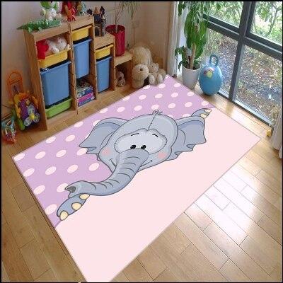 Autre mignon éléphant violet rose plancher blanc points Animal 3d impression antidérapant microfibre enfants chambre décorative tapis tapis